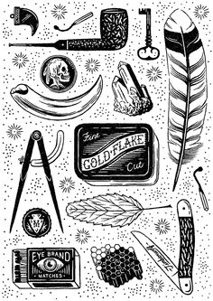 We were included in South African art and design publication iJusi #28. This issue was themed on tattoos so we created our own version of a flash sheet, made up of a series of smaller tattoo elements. We drew inspiration from adventures and mystery in the…