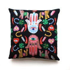 LUK is a lucky amulet, either you are superstitious or not. Composition: digital print on cotton fabric Care: Machine wash max Iron on a low temperature. Stenciled Pillows, Ikat Pillows, Velvet Pillows, Copper Accessories, Home Decor Accessories, Ikat Fabric, Cotton Fabric, Embroidered Cushions, Decorative Cushions