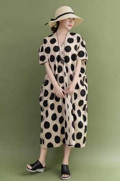 1eaf5adcd5 Summer Cotton Beige Big Dot Plus Size Casual Loose Fitting Long Maxi Dresses  For Women