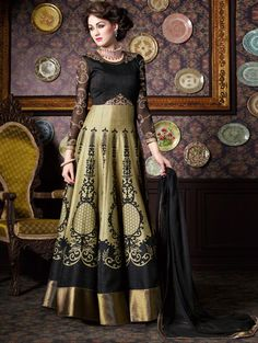 Beige and Black Silk Anarkali Suit with Zari Work
