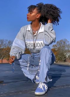 Indie Outfits, Teen Fashion Outfits, Retro Outfits, Cute Casual Outfits, Vintage Outfits, Girl Outfits, Fashion Dresses, Black Girl Fashion, Tomboy Fashion