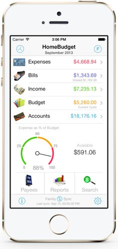 Homebudget App: HomeBudget is an expense tracker designed to help you budget, track  and possibly control your monthly expenses at home. HomeBudget supports tracking of both your expenses and income, and includes support for budgets, accounts, payees, and bill tracking.