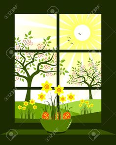 Easter Eggs And Daffodils In Bowl At Window Royalty Free Cliparts, Vectors, And Stock Illustration. Pic 9123407.