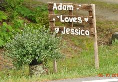 Weathered wood signs.