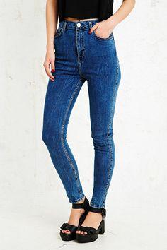 Light Before Dark Super High-Rise Skinny Jeans in Blue