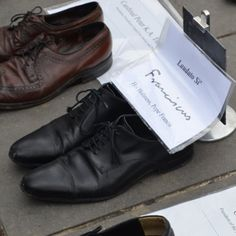 Pope Francis' shoes being placed in Paris in solidarity with the #climatemarch ! by edccgreenteam