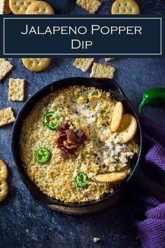 Jalapeno Popper Dip via Fox Valley Foodie Jalapeno Popper Dip, Stuffed Jalapeno Peppers, Stuffed Onions, Dip Recipes, Appetizer Recipes, Beef Recipes, Cooking Recipes, Party Recipes, Sweets Recipes
