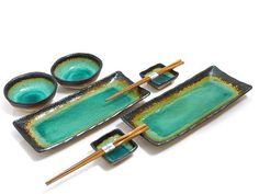 Each set features one large sushi platter, two sushi plates, two soy sauce dishes and two pairs of chopsticks. Ideal for home sushi party or sushi making events. These sushi dish sets are sushi lovers' choice and make a great holiday gift idea. Traditional Dinnerware Sets, Sushi Plate, Sushi Bowl, Sushi Dishes, Sushi Set, Unusual Gifts, Ceramic Plates, Turquoise, Bowl Set