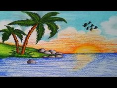 Very easy drawing scenery of Islands step by step.I use CROWN Oil Pastel & STEADTLER (Noris Club) Pencil. Oil Pastel Drawings Easy, Oil Pastel Paintings, Pastel Art, Colorful Drawings, Easy Drawings, Scenery Drawing For Kids, Art Drawings For Kids, Landscape Drawings, Landscape Paintings