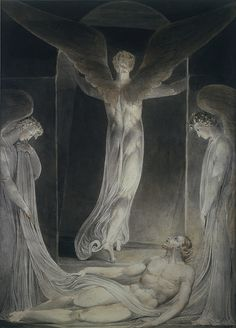 William Blake, (1757-1827) 'Resurrection: Angel Rolling away the Stone from the Sepulchre', c.1805 Watercolour