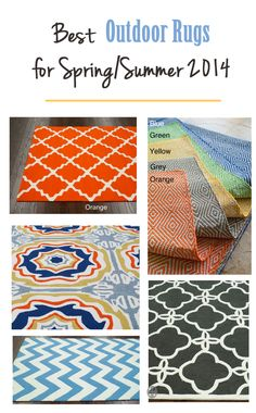 So many great bold colors and graphics in these outdoor rugs - good prices too - definitely snagging one or two for my deck.