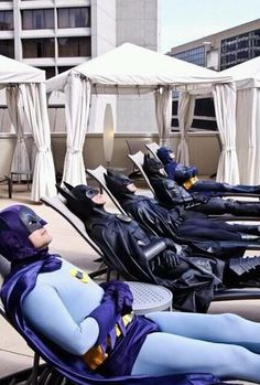 The alternate universe where all the different versions of batman have nothing better to do than suntan together