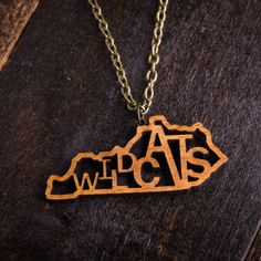 Wood Wildcats Mascot Necklace