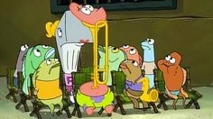 Watch the clip here (video is not mine) [link] and episode (sped-up) here (again, not mine) [link]. Patrick Star Stuck in the Trombone Marching Band Problems, Marching Band Memes, Music Jokes, Music Humor, Band Jokes, Pokemon, Instruments, Band Nerd, Band Camp