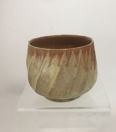 Swirl Facetted Stoneware Tea Bowl handmade by NC potter, David Voorhees.