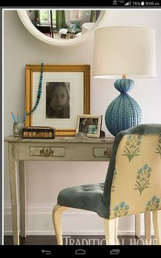 From Traditional Home Magazine. I love this setting! Especially the lamp!