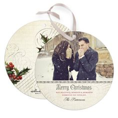 Like this idea: Ornament Christmas Card. Round shape with ribbon for hanging.  Taste of Tradition:Eggshell via Shutterfly