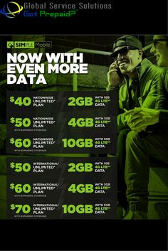 New Upgrades NOW AVAILABLE! Simple Mobile Wireless plans now offer 2x the 4G LTE data for the same price. For more information contact: sales@gotprepaid.com