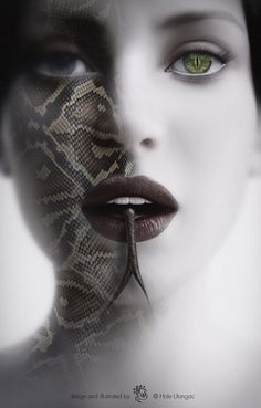 3d and 2d mixed illustration work, portrait of a snake morphing woman, free artwork.  woman, snake, snakeskin, female, digital art, fantasy, art, horror, digital, movie poster, 3d model, image creation, snake eyes, tongue, snake tongue, imagine, skin, medusa, medussa, devil, temptation, sensuality, femme fatale, desire, forked tongue, mystery, reptile, temptress, myth
