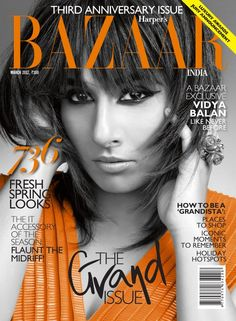 Bollywood actress Vidya Balan for Harper's Bazaar India, March (How HOT! Issue Magazine, Cool Magazine, Magazine Covers, India Match, Third Anniversary, Vidya Balan, Cover Pics, Cover Picture, Spring Looks