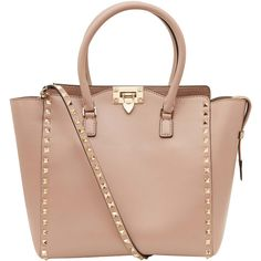 Valentino Small Beige Rockstud Double Handle Bag (5.895 BRL) ❤ liked on Polyvore featuring bags, handbags, shoulder bags, purses, accessories, bolsas, leather shoulder bag, leather handbags, crossbody shoulder bag and leather man bags