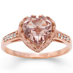 Simulated morganite and white topaz ring - Rose gold over silver jewelry - Love the piece, but a bit pricey for me... but a girl can dream...