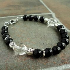 Mens Bracelet with Black Onyx & Rock Crystal by mamisgemstudio, $28.95
