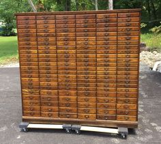 !!!!!!!!!!! Antique 1920's Cincinnati OH History Oak Filing Cabinet Apothecary General Store