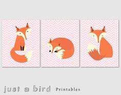 Printable fox art set of 3 prints, fox wall art, pink chevron fox, nursery decor, girls room decor -  DIGITAL DOWNLOAD on Etsy, R$34,38