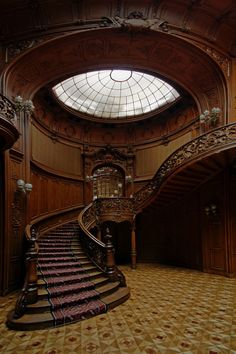 Wooden stairs in interior of House of Scientists, formerly Polish casino of nobles, Lviv Ukraine - Lukasz Mlodzins