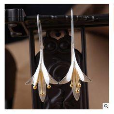 2017 חם האופנה פרל תכשיטי 925 עגילי טיפת כסף תכשיטי Pendientes Brincos תכשיטי עגילי כסף פרח שושן f00004