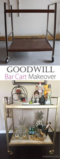 HOME SHOP DIYS TAKE A TOUR VIDEOS ABOUT              GOODWILL BAR CART MAKEOVER – THRIFT STORE DIY           I searched for an old cart that I could transform into a bar cart for quite some time. I had even visited this Goodwill a few times before. So, could you imagine my excitement when I walked in and found the perfect cart. I dragged that thing all over the store with me because I refused to let it out of my site [INSERT EMOJI HERE].     Here I'm sharing the transformation. Hope you…