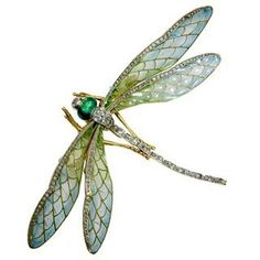 "Plique-a-jour enamel & diamond ""en tremblant"" dragonfly brooch atrributed to Eugene Feuillatre."