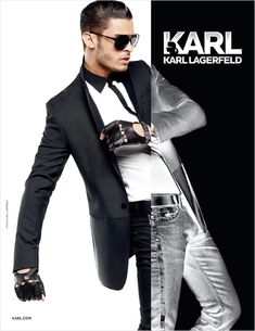 Karl's Muse-Model Baptiste Giabiconi reunites once again with the unstoppable Karl Lagerfeld for the fall/winter 2012 campaign of Karl… Stylish Mens Haircuts, Stylish Mens Outfits, Karl Lagerfeld, Party Suits, Men Party, Fashion Background, German Fashion, Men Formal, Sharp Dressed Man