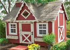 red wooden playhouse