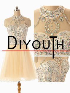 DIYouth Sexy Hanging Crystal thin Halter Neck Short Tulle Beading Prom Dresses 2015 amaze-boots.com $89.99 cheap ugg boots for Christmas gifts.Just in low price.