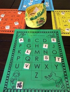 Letter match using bananagrams. Letter Learning https://www.amazon.com/gp/product/B075C661CM
