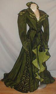 1890-1900 black net lace and green silk opera evening coat