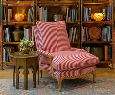 Based on an early century chair by Syrie Maugham who was inspired by an century French model. Our Bergere was famously used by the Dalai Lama whilst talking at the Royal Albert Hall. Furniture Upholstery, Upholstered Chairs, Striped Chair, Bergere Chair, French Fabric, Country Furniture, Room Colors, Side Chairs, British Designers