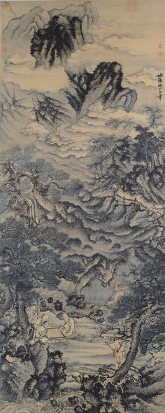 Xie Shichen (1488-after 1567), The Four Elders. Ink and light colors on silk, 252.4 x 100 cm. Taipei, National Palace Museum.
