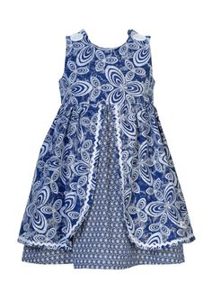 💕Loving this for my daughters💕 Girls Navy & White African Print Dress by JenniDezignsClothing African Dresses For Kids, African Print Dresses, Dresses Kids Girl, African Print Fashion, African Fashion Dresses, Kids Outfits, Kids Dress Wear, Kids Frocks Design, Shweshwe Dresses