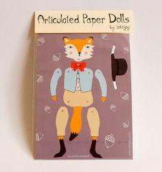 Artist in LA LA Land Illustration & Design: Fox & Bunny Paper Puppet Dolls by Ink n Joy