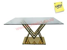 Glass dining tables with gold and silver bases for sale. Wide range of glass dining and cafe tables with various designs. Suppliers of wedding and event tables