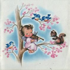 Vintage Greeting Card People Angel Girl Violin Squirrel O844