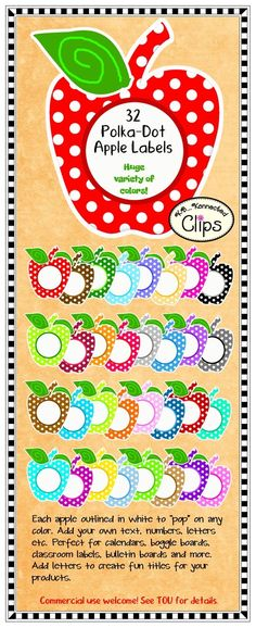 Great for back to school! 32 Apple labels in 32 colors! Use for Boggle boards, product titles, calendars and so much more! Great for digitals and printables, EZ to cut! $ Commercial use welcome.  http://www.teacherspayteachers.com/Product/Clip-Art-32-Polka-Dot-Apple-Labels-719172