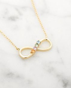 Birthstones never looked so good. #jewelry #birthstone #necklace #gifts Infinity Charm, Stone Gold, Perfect Gift For Mom, Gifts For New Moms, Birthstone Necklace, Metal Necklaces, Bar Necklace, Silver Charms, Personalized Jewelry