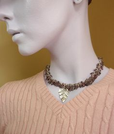 Shaggy Beaded Necklace  Exotic Mauve and Silver by unkamengifts, $106.00