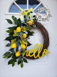 Lemon Wreaths for Front Door Succulent Wreaths Farmhouse Wreath Spring Wreath Lamb's Ear Wreath Summ Welcome Signs Front Door, Front Door Decor, Wreaths For Front Door, Front Porch, Christmas Mesh Wreaths, Ribbon Wreaths, Yarn Wreaths, Tulle Wreath, Floral Wreaths