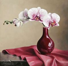 Flowers Drawing - We have put together a fine collection of hyper realistic flower paintings by Pieter Wagemans. Artist Pieter Wagemans was born on August 1948 at Belgium. He is well known for his contemporary Oil Painting Flowers, Watercolor Flowers, Watercolor Paintings, Art Paintings, Flower Paintings, Art Floral, Painting Still Life, Still Life Art, Still Life Flowers