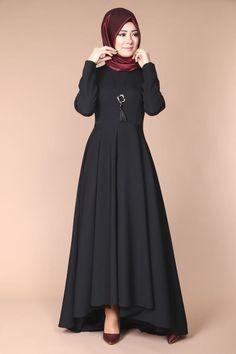 #Bisiklet #Yaka #Peplum  Bisiklet Yaka Peplum Elbise MDH6352 Siyah  ModaSelvim Harika Model Muslim Evening Dresses, Hijab Evening Dress, Abaya Fashion, Modest Fashion, Fashion Dresses, Muslim Women Fashion, Islamic Fashion, Estilo Abaya, Dress Indian Style